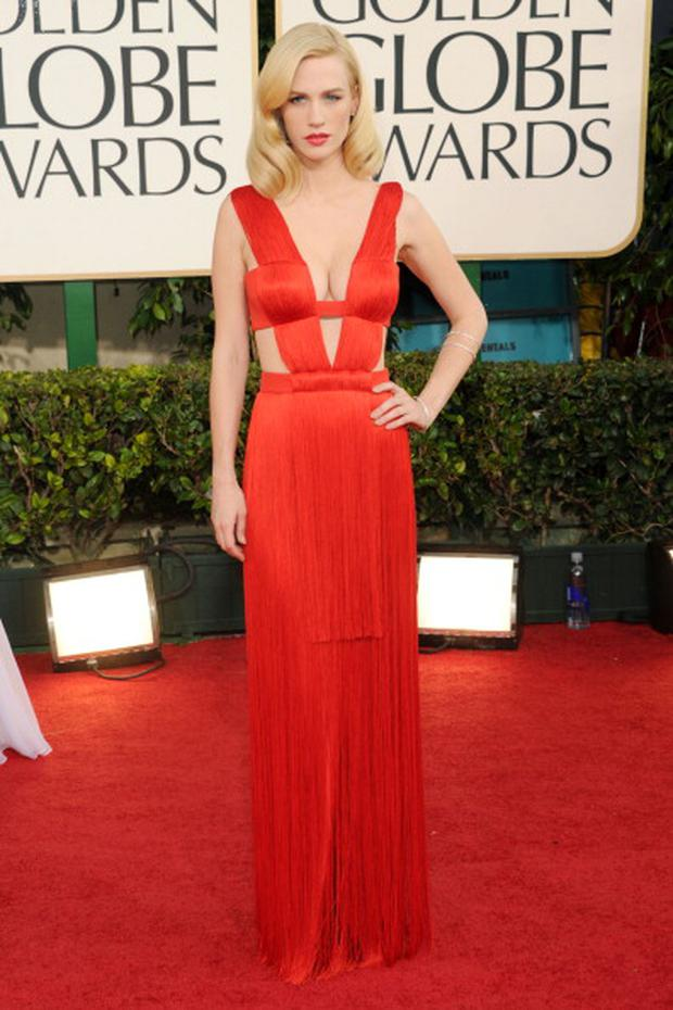 BEVERLY HILLS, CA - JANUARY 16: Actress January Jones arrives at the 68th Annual Golden Globe Awards held at The Beverly Hilton hotel on January 16, 2011 in Beverly Hills, California. (Photo by Jason Merritt/Getty Images)