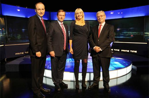 Primetme presenter Miriam O'Callaghan with the main party leaders before last night's TV debate