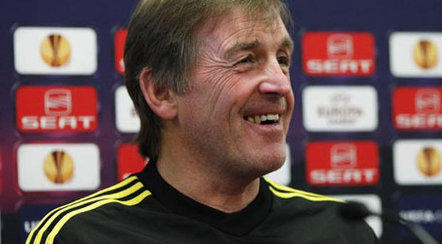 Liverpool manager Kenny Dalglish sees the funny side of things during a press conference at Melwood yesterday. Photo: Reuters