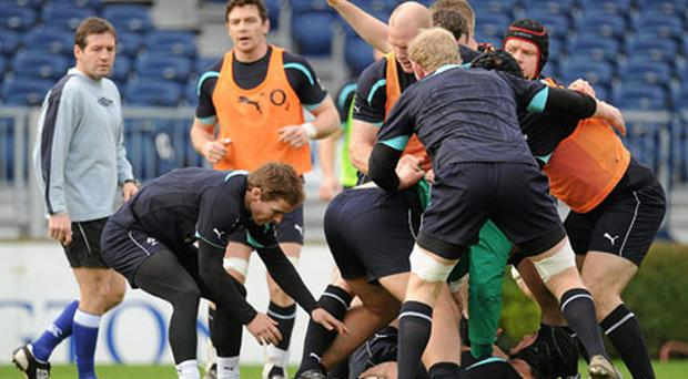 Ireland scrum-half Eoin Reddan takes the ball from a ruck under the watchful eye of Alain Rolland.