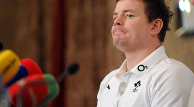 Ireland captain Brian O'Driscoll looks on during the team announcment ahead of the Six Nations showdown with Scotland on Sunday.