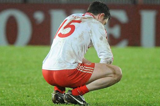 A disappointed Enda McGinley reacts at the final whistle after Tyrone lost to Donegal last weekend. Photo: Oliver McVeigh / Sportsfile