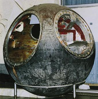 The Soviet space capsule Vostok 3KA-2 is being auctioned by Sotheby's (AP)