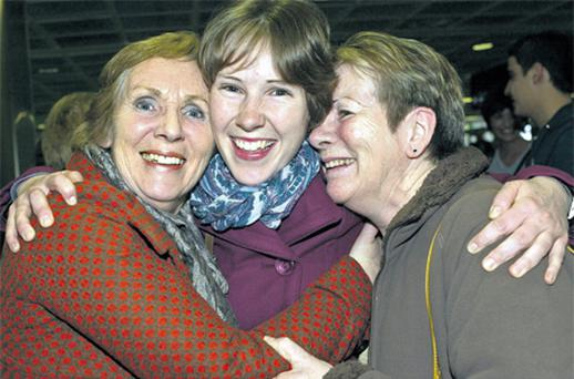 Safe return: Deirdre Twomey, from Co Wexford, with mum Chrissie, left, and aunt Helen O'Brien. Photo: Martin Nolan