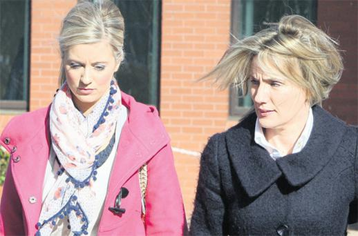 Hazel Stewart (right) and her daughter Lisa leaving court yesterday. Photo: Paul Faith / PA