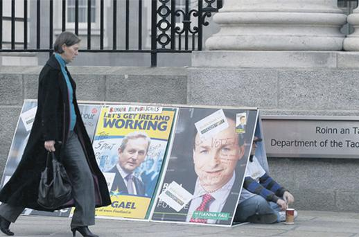 A protest outside the Department of the Taoiseach in Dublin yesterday