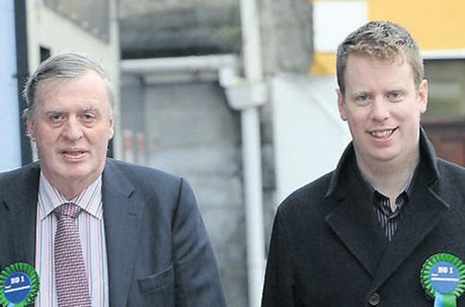 Paul Connaughton Snr (left) with his son Paul, who is seeking election, on the campaign trail in Mountbellew, Galway, yesterday