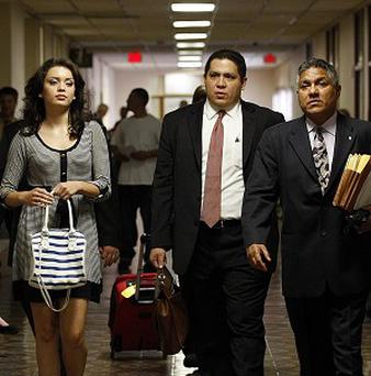 Domonique Ramirez, pictured with her lawyers before her appeal in Texas (San Antonio Express-News)