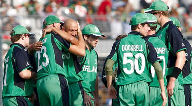 Ireland players celebrate dismissing Shakib Al Hasan captain of Bangladesh for 16. Photo: Getty Images