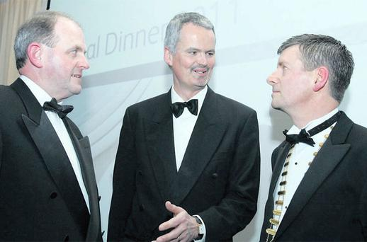 At the Institute Of Taxation annual dinner in the Burlington Hotel, Dublin, last night were (from left) Frank Ryan, chief executive, Enterprise Ireland; Mark Redmond, chief executive, Irish Taxation Institute, and Andrew Cullen, president of the institute.