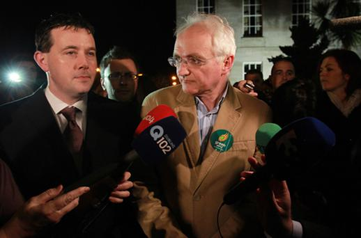 Green Party Leader John Gormley leaving the count centre in the RDS Dublin after giving a media doorstep as counting continues in the General Election. Photo: PA