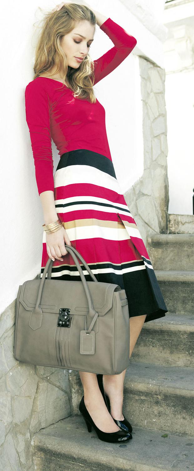 Satin-trim jersey, €25; cotton sateen stripe skirt, €56 (available in sizes 10- 22); leather bag, €106, all from www.longtall sally.com, 0844 573 6885 or in stores nationwide