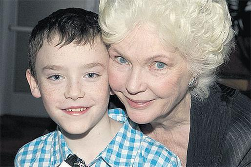 Oran Creagh (10) with actress Fionnula Flanagan (left) at the launch of Imagine Ireland in Los Angeles last week