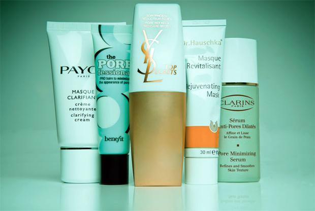 Pictured, from left: Payot Masque Clarifiant; Benefit The Porefessional; Yves Saint Laurent Top Secrets Pore Refining Skincare Brush; Dr Hauschka Rejuvenating Mask; Clarins Pore Minimising Serum