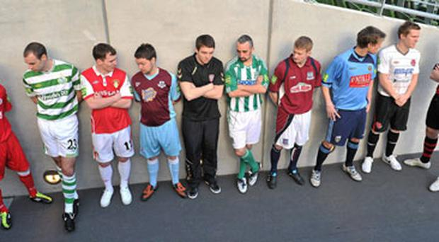 At the launch of the 2011 Airtricity League at the Aviva Stadium yesterday were (from left): Richie Ryan (Sligo Rovers), Dan Murray (Shamrock Rovers), Derek Pender (St Patrick's Athletic), Brian Gannon (Drogheda United), Kevin Deery (Derry City), Gary Dempsey (Bray Wanderers), Paul Sinnott (Galway United), Michael Leahy (UCD), Simon Madden (Dundalk) and Owen Heary (Bohemians). Photo: Brendan Moran / Sportsfile