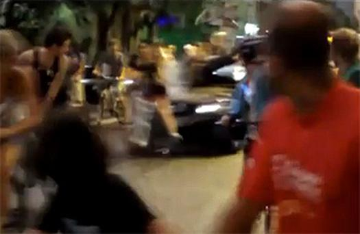 The moment a car drives into a group of cyclists in the city of Porto Alegre, Brazil