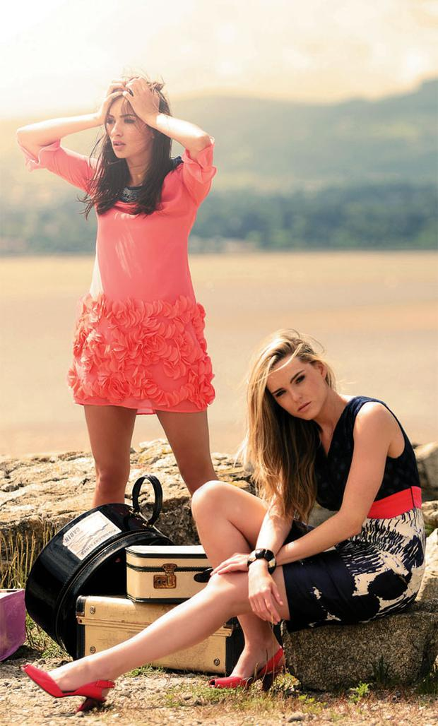Chloe wears: Petal dress with beaded neck, €205, fee G. Sarah wears: Print dress with knit top, €226. fee G. Round suitcase; large suitcase with trim, from €65, Audrey Kilbride Vintage. Shoes; bangle; other suitcases, all stylist's own