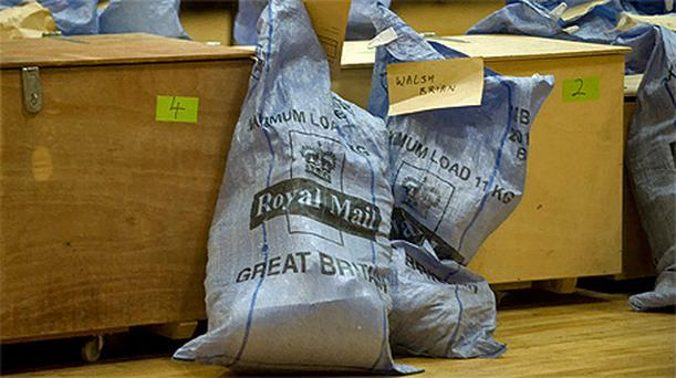 Royal Mail bags at the count centre in Salthill, Co Galway, during the Galway West count