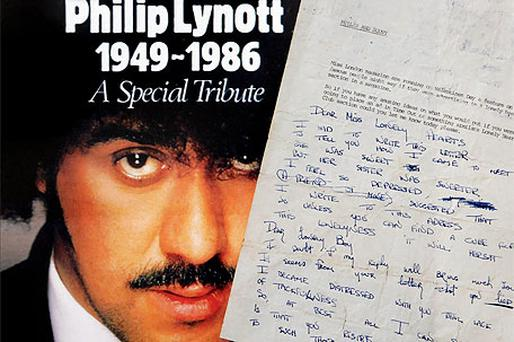 Among memorabilia at the 'The Philip Lynott Exhibition', is the lyrics to 'Dear Miss Lonely Hearts'