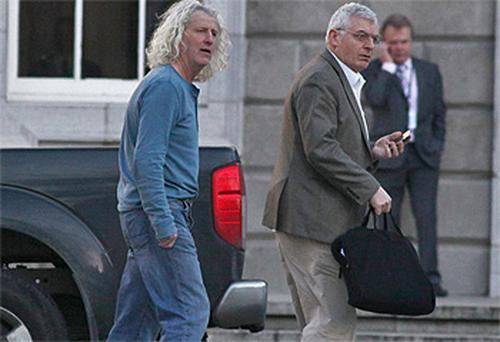 Wexford Independent TD Mick Wallace and Dublin socialist TD Joe Higgins at Leinster House