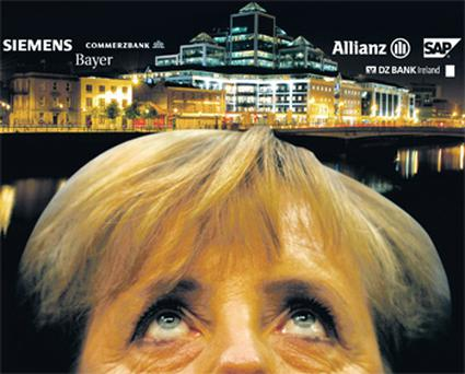 Angela Merkel claims Ireland's corporation tax is a key reason for the country's financial crisis. Ireland is host to over 300 German companies that benefit from the 12.5pc corporate tax rate. Several German banks are based in Dublin's IFSC