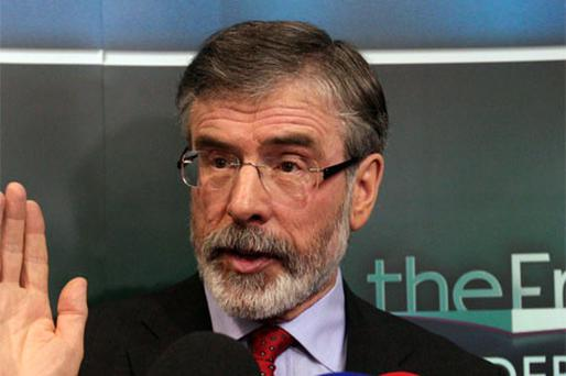 Newly-elected deputy for Louth, Gerry Adams. Photo: Collins Photo Agency