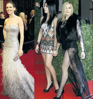 From left Hilary Swank and Lourdes & Madonna