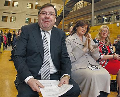 Outgoing Taoiseach Brian Cowen at the official opening of the Midland Regional Hospital - which was completed in May 2007- in Tullamore, Co Offaly, yesterday