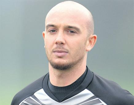 Shooting from the hip: Stephen Ireland in training for Newcastle United yesterday