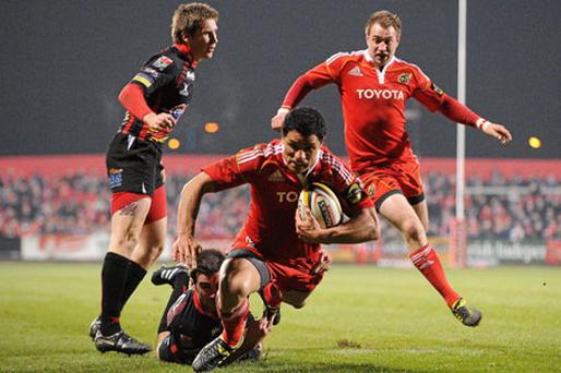 Munster's Doug Howlett, goes over to score his side's second try during a Magners League clash against the Dragons at Musgrave Park.