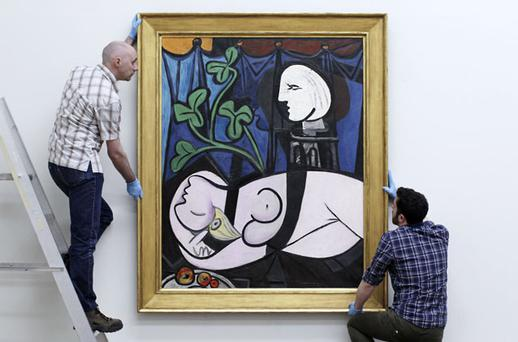 'Nude, Green Leaves and Bust' by Pablo Picasso, went on display at the Tate Modern in London yesterday. Photo: PA