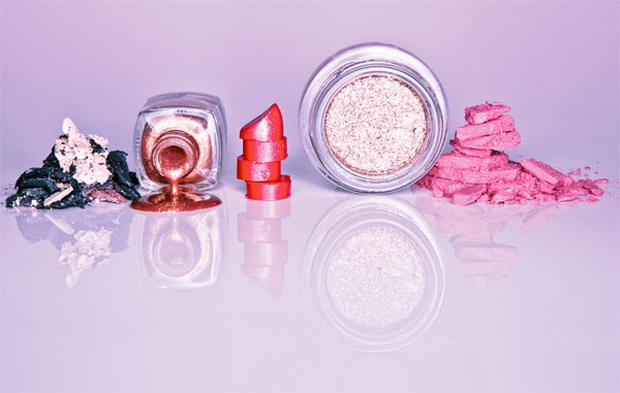 Pictured, from left: Chanel Ombres Perles de Chanel; Max Factor Max Effect Mini Nail Polish in Bronze; Clarins Joli Rouge in Cherry; Lancome Ombre Magnetique in Disco Gold; Benefit Bella Bamba