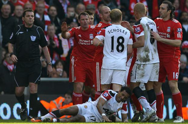 Jamie Carragher's attempts to apologise to Nani after Sunday's game at Anfield were rebuffed by Manchester United. Photo: Getty Images