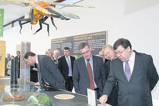 Brian Cowen officially opens the new bog visitor centre and library yesterday in Clara, Co Offaly, with local politicians
