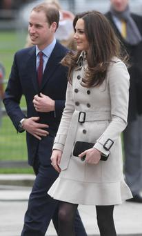 Prince William and his bride-to-be Kate Middleton pictured at Belfast City Hall during their visit to the North. Photo: PA
