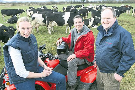 Last year's Know Your Grass Silage Quality competition winner Brian Reidy, Sligo, shows off his ATV prize, alongside Forage Systems' national sales manager Fionnuala Malone and Macra na Feirme national president Michael Gowing, at the launch of this year's competition