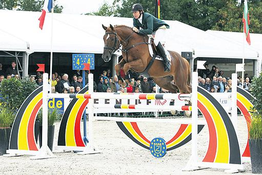 Clem McMahon rides Coole Al Clover to Ireland's first World Breeding Championship gold medal in Lanaken, Belgium