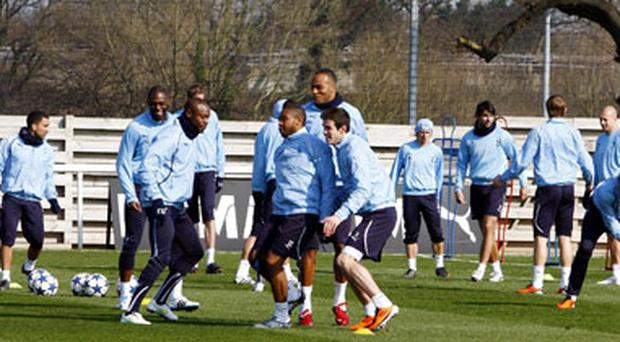 Tottenham players go through their paces at training yesterday ahead of tonight' Champions League game against AC Milan at White Hart Lane. Photo: PA