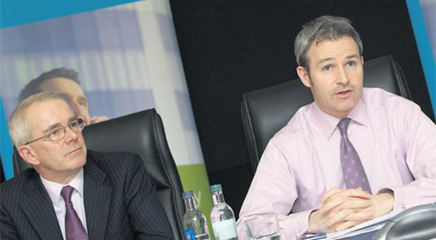 FBD finance director Cathal O Caoimh, left, and chief executive Andrew Langford at yesterday's results announcement