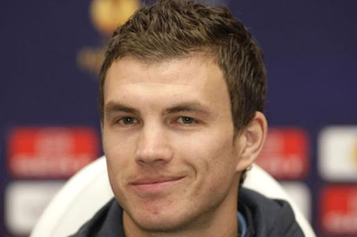 Manchester City's Edin Dzeko addresses the media at a press conference at the Valeriy Lobanovskiy stadium in Kiev ahead of tonight's round of 16 Europa League clash against Dynamo Kiev. Photo: Reuters