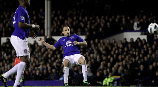 Heitinga scored the equaliser for Everton. Photo: Getty Images