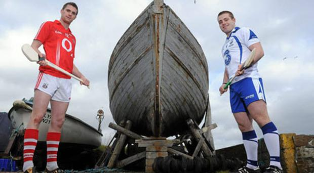 Cork's Cathal Naughton alongside Waterford's Noel Connors at Helvick Head near Dungarvan yesterday ahead of the Allianz NHL game this weekend. Photo: Matt Browne / Sportsfile