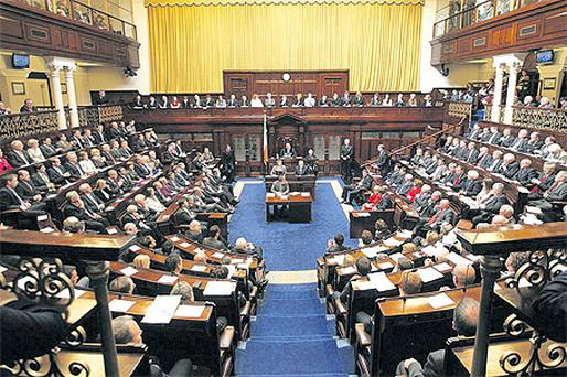 Members of the 31st Dail listen to proceedings on the first day of the new session yesterday