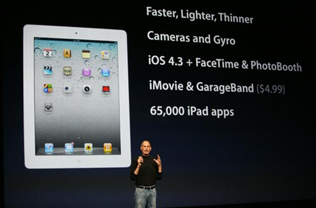 Apple CEO Steve Jobs unveiled iOS4.3 during the launch of iPad 2. Photo: Getty Images