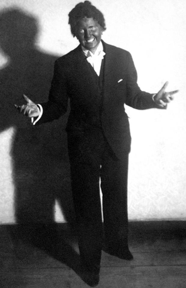 Hitler's companion Eva Braun dressed as American actor Al Jolson in The Jazz Singer, Munich, Germany, 1937. Photo: Getty Images