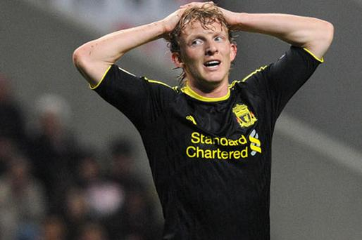 Liverpool's Dirk Kuyt reacts after missing a chance against Sporting Braga during the Europa League round of 16, first leg game in Portugal last night - Braga won 1-0. Photo: AP