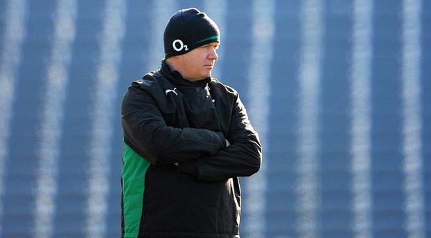 Ireland head coach Declan Kidney watches on during squad training ahead of their RBS Six Nations Rugby Championship match against Wales. Photo: Sportsfile