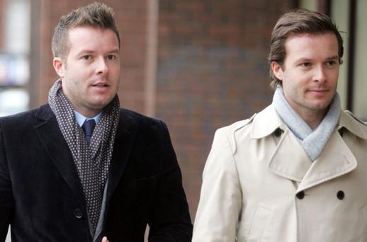 L- R: Businessmen, Christian and Simon Stokes, owners of Exclusive nightclub, Residence on Stephens Green, Dublin, leaving court. Photo: Collins