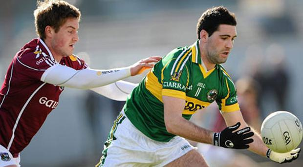 Kerry's Bryan Sheehan (right) is tackled by Gary O'Donnell of Galway during yesterday's Allianz FL Division One clash at Killarney. Photo: Brendan Moran / Sportsfile