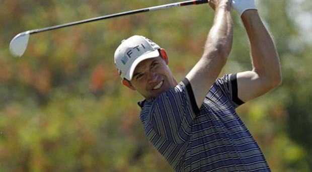 Padraig Harrington tees off on the fifth hole at the TPC Blue Monster in Doral yesterday. Photo: Reuters